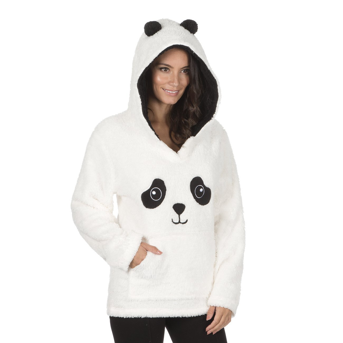 Snuggle Fleece Hooded Pajama Forever Dreaming Womens Novelty Animal Bed Jacked