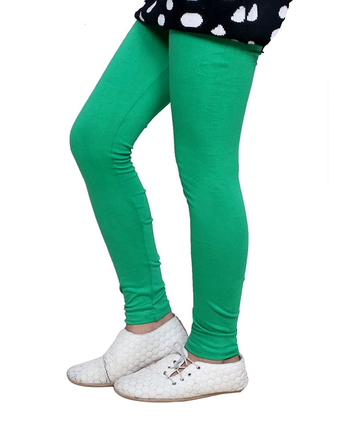 Pack Of 4 Indistar Girls 2 Cotton Solid Legging Pants /_Multicolor/_Size-9-10 Years/_71405061619-IW-P4-32 and 2 Cotton Printed Legging Pants