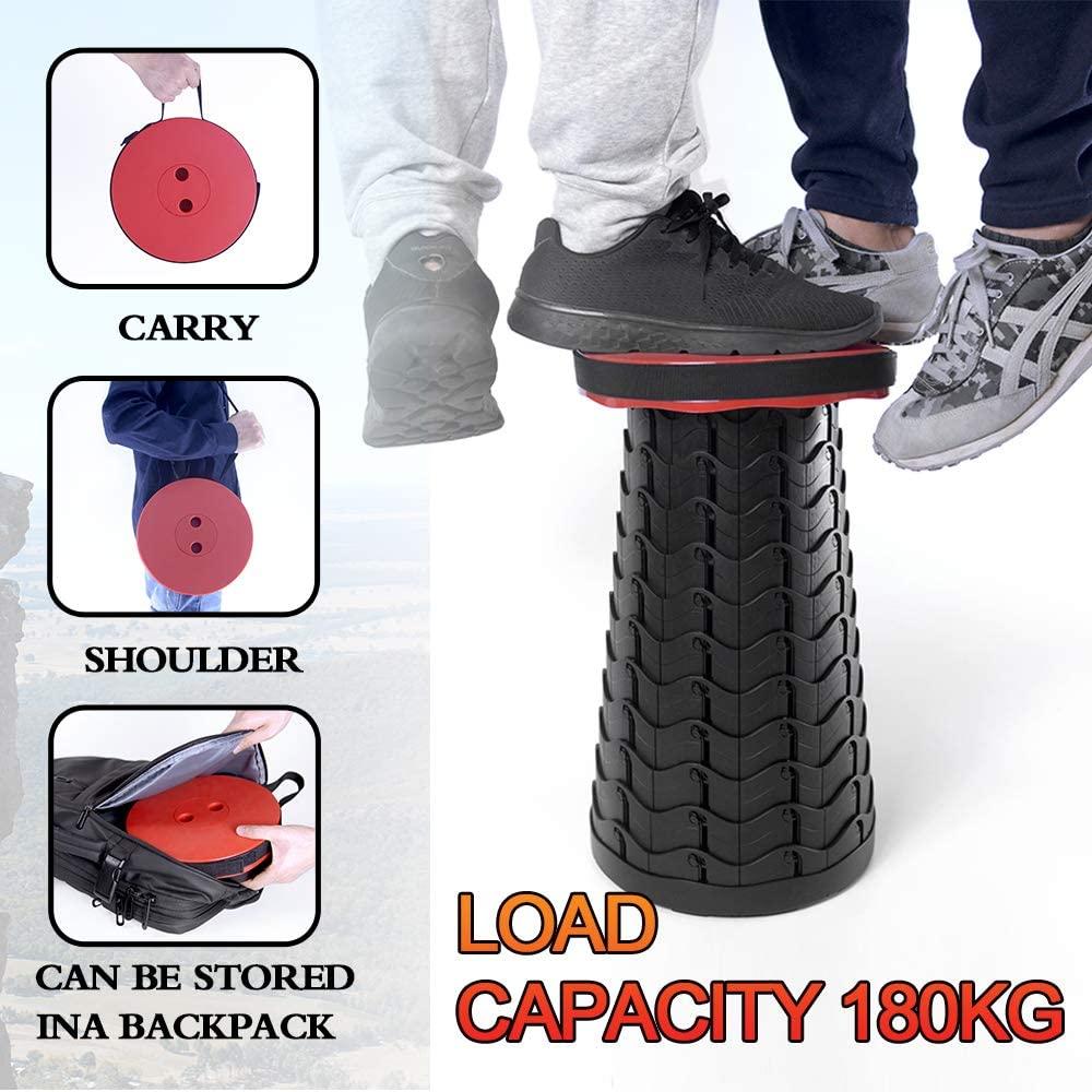 Black Height Adjustable 2nd Gen Upgraded Travel Telescopic Stool Seat Folding Stool Portable Retractable Camping Stool Outdoor and Indoor Foldable Stools for Camping Fishing Hiking BBQ Garden