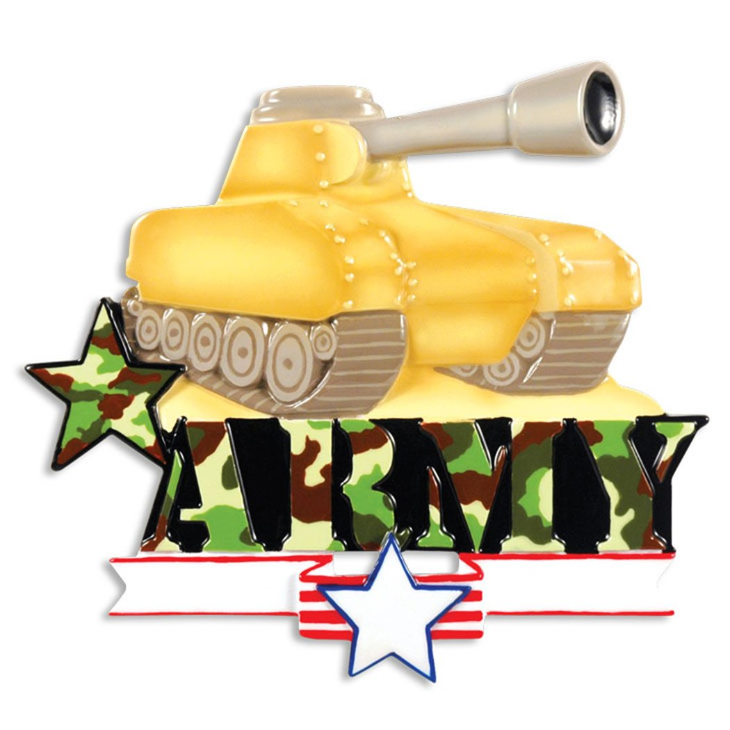 Personalized Army Tank Christmas Ornament - Camouflage Armed Forces Military Vehicle Cannon - Fighter Trooper Brave Proud Soldier Fatigues Patriotic USA Armored Combat - Free Customization by Elves