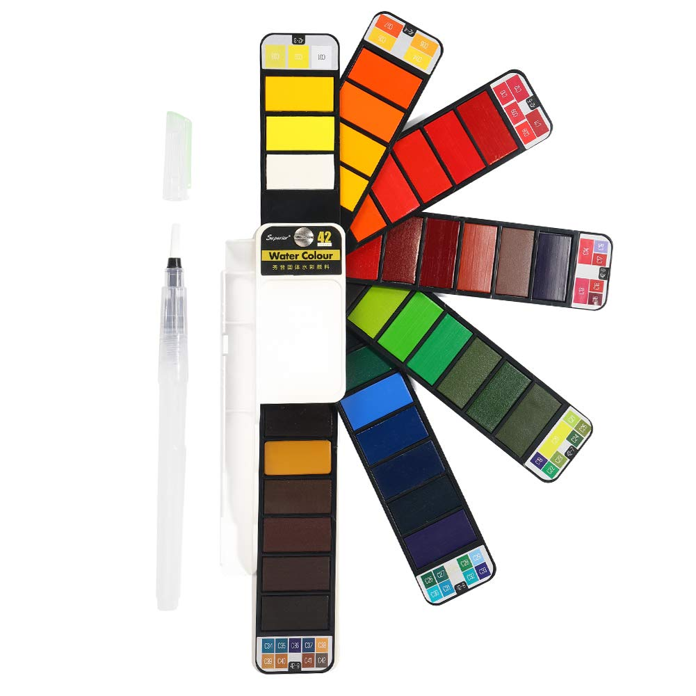 Watercolour Paint Set - 42 Assorted Colours - Watercolours Kits Includes 1 Water Brush - Perfect for Budding Hobbyists and Artists B07DB8TGL3