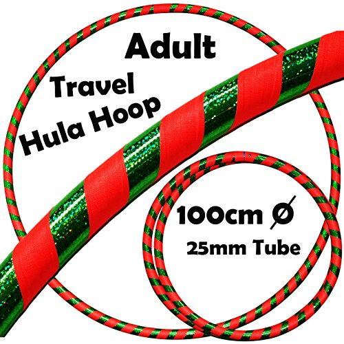 PRO Hula Hoops (Ultra-Grip/Glitter Deco) Weighted TRAVEL Hula Hoop (100cm/39') Hula Hoops For Exercise, Dance & Fitness! (640g) NO Instructions Needed - Same Day Dispatch.! (UV Orange / Green Glitter)
