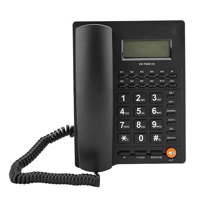 Schwarz VBESTLIFE Schnurgebundenes Telefon mit Anrufer-ID,Kabelgebundenes Festnetztelefon mit LCD-Display und Kurzwahlfunktion Schnurgebundenes Telefon f/ür Zuhause B/üro