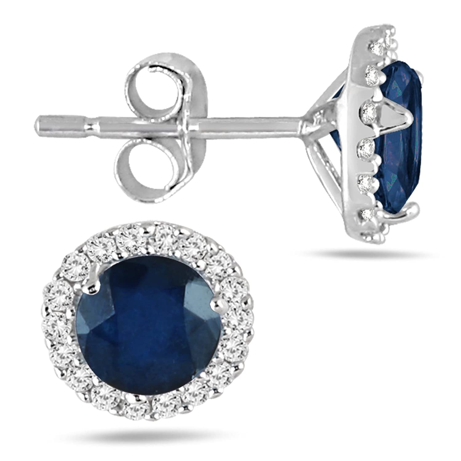Amazon Sapphire and Diamond Stud Earrings in 14K White Gold