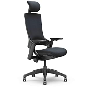 CLATINA Ergonomic High Swivel Executive Chair with Adjustable Height Head 3D Arm Rest Lumbar Support and Upholstered Back for Home Office (Black)