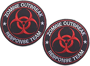 funny vest motorcycle Red Zombie Outbreak Response Team  Patch biker hat