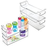 mDesign Baby Nursery Organizer Bins for Clothes, Diapers, Toys - Pack of 4, 5  x 5  x 14.5 , Clear