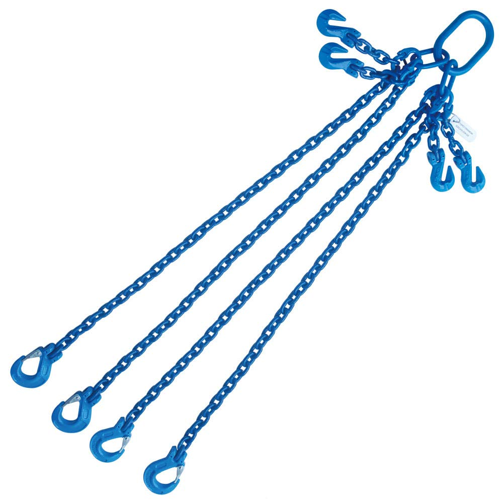 Grade 100 5//16X4 Chain Sling Quad Leg Adjustable with Sling Hooks 11700 LBS Capacity