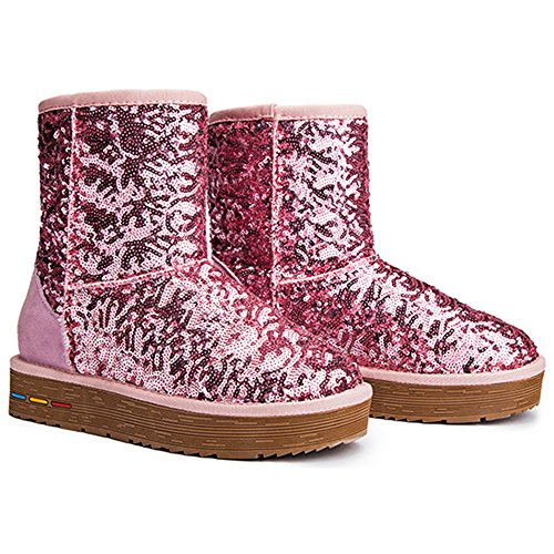 Outdoor Fleece Short Pink Warm Lined Wearable Winter Sequins Shoes Keep Eastlion Boots Boots Women's Snow nx61PRwE