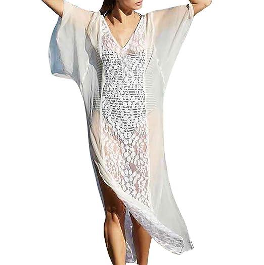 a00fc443b Women Long Bathing Suit Cover Ups Maxi Beach Dress Sexy See Through Lace  Crochet Swimwear White