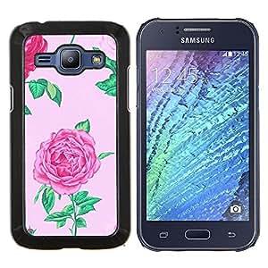 YiPhone /// Prima de resorte delgada de la cubierta del caso de Shell Armor - begonia rosa floral de flor de primavera pétalo - Samsung Galaxy J1 J100