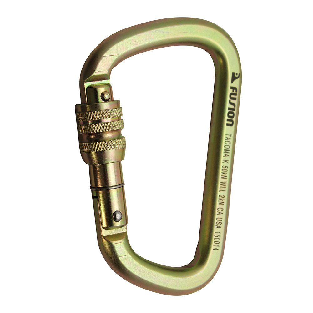Fusion Climb Tacoma Steel Screw Lock Gate Modified D-shaped Carabiner Gold 10-Pack FP-9005-SG-GLD-10P