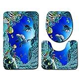 GardenHelper Set of 3 Non-Slip Ocean Style Toilet Seat, Underwater World Dolphin Bathroom mat (Pedestal Rug + Lid Toilet Cover + Bath Mat)
