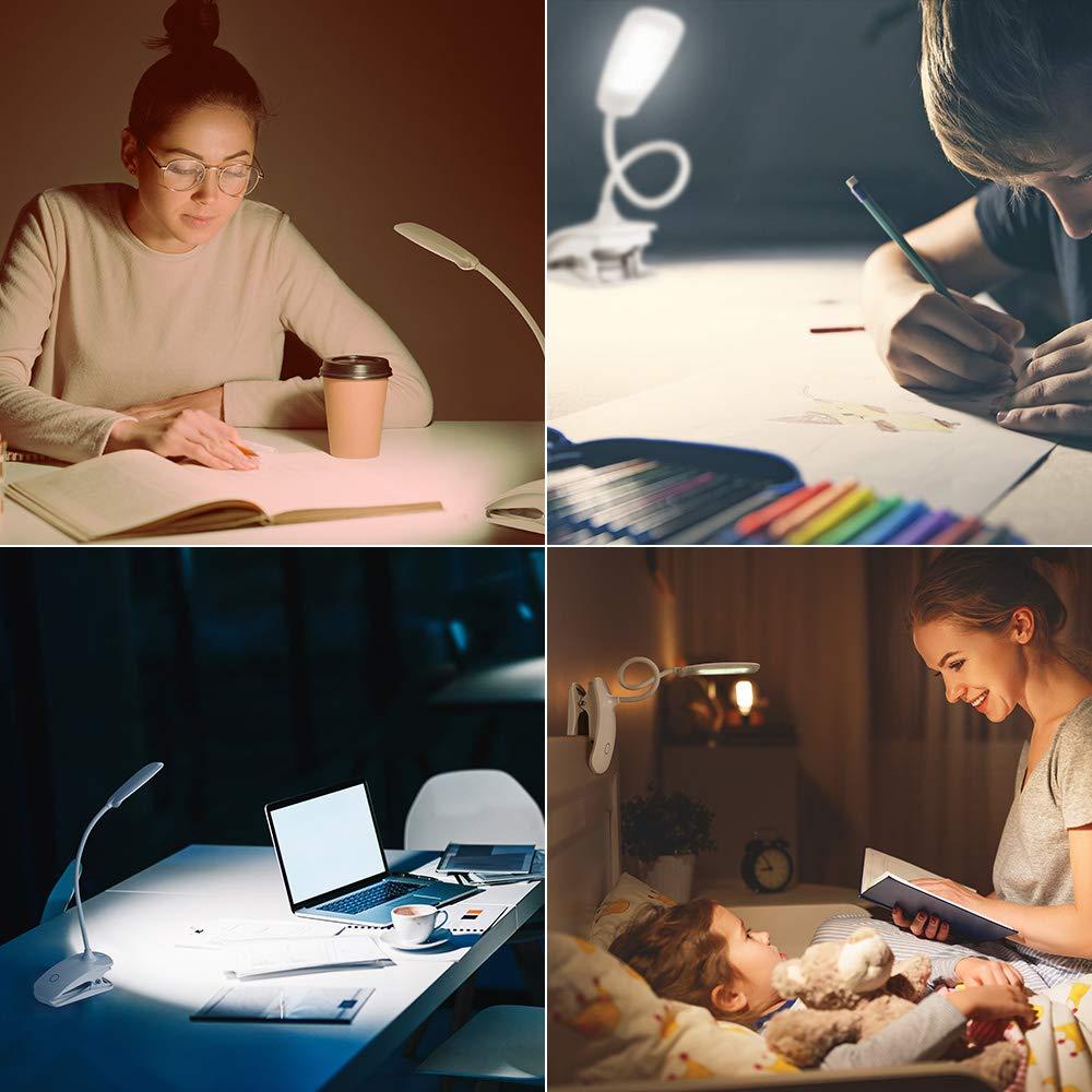 NEXVIN Leselampe Klemme mit 18 LED /& 3 Stufen Helligkeit Buchlampe USB aufladbare Klemmlampe zum Studieren und Arbeiten. Klemmleuchte mit Ber/ührungssensor Schreibtischlampe
