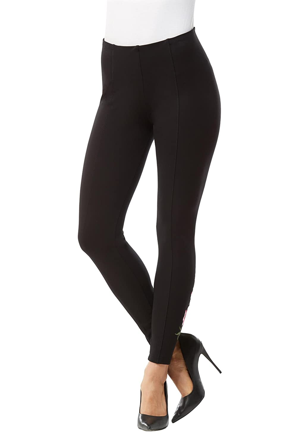 Plus Luxe Leggings with Rose Embroidery Nygard 3L4SV1Z2