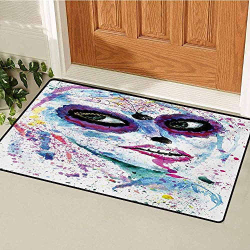 Girls Universal Door mat Grunge Halloween Lady with Sugar Skull Make Up Creepy Dead Face Gothic Woman Artsy Door mat Floor Decoration W31.5 x L47.2 Inch Blue Purple -