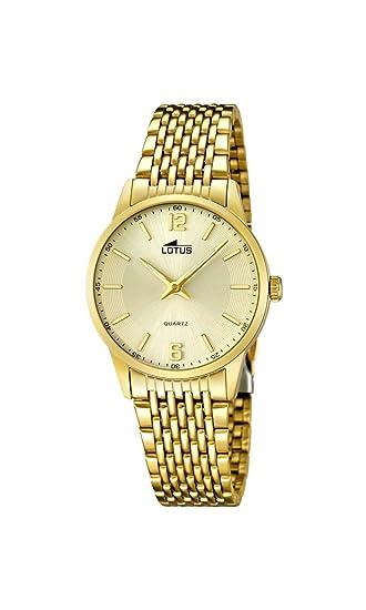 Lotus Reloj de Cuarzo para Mujer con Oro Esfera analógica Pantalla y Oro Pulsera de Acero Inoxidable 15890/3: Amazon.es: Relojes