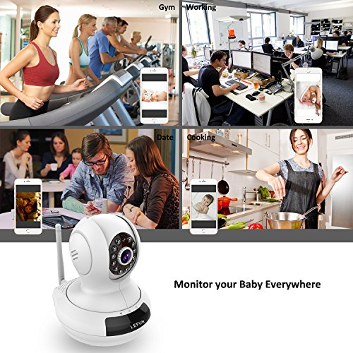 LeFun Wireless Camera, Baby Monitor WiFi IP Surveillance Camera HD 720P Nanny Cam Video Recording with Pan Tilt Remote Motion Detect Two Way Audio and Night Vision