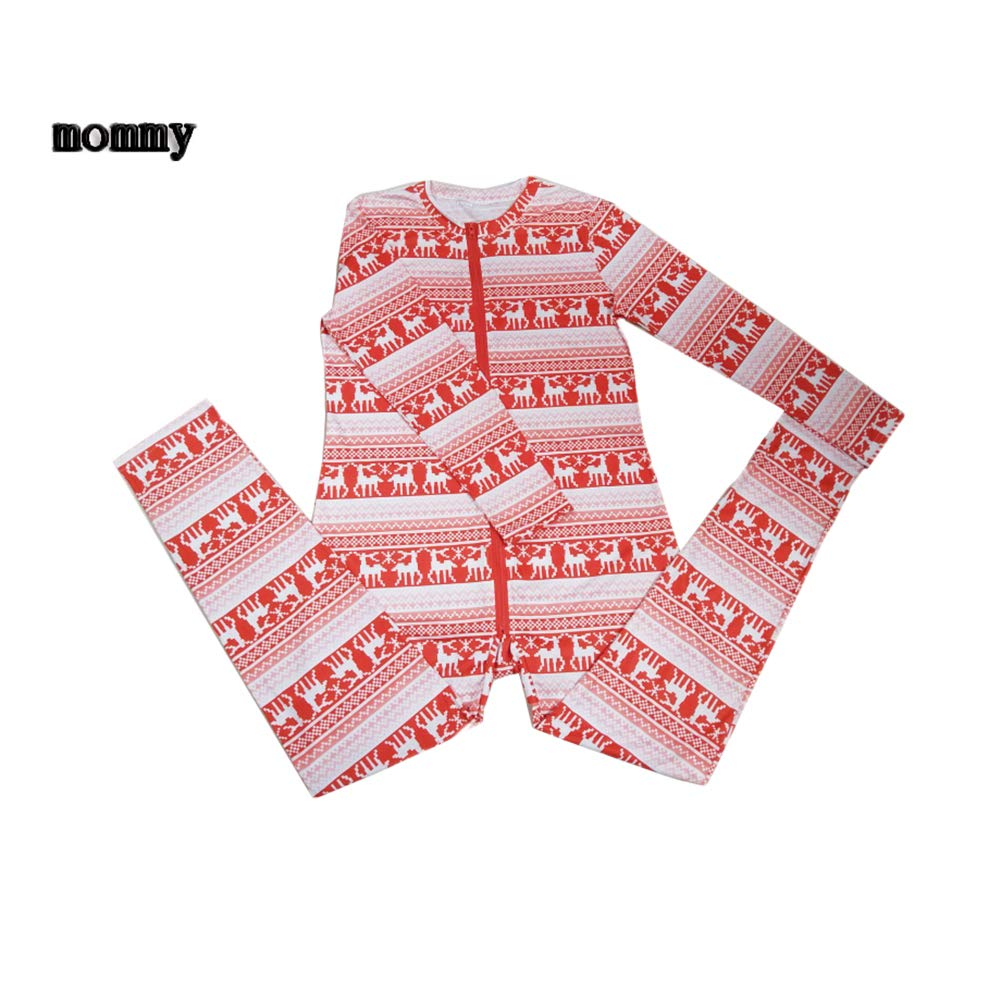 Family Matching Christmas Pajamas Set Sleepwear Long Sleeve Zipper Front Jumpsuit Xmas Clothing