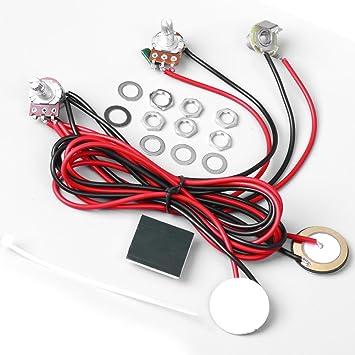 ascendas doble contacto piezoeléctrico Pickups recogida 6.35 mm Jack con control de tono volumen potenciómetro y