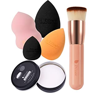 DUcare Makeup Sponge Set + Flat Top Kabuki Foundation Brush + Sponges Cleaner Coco Soap 6PCS