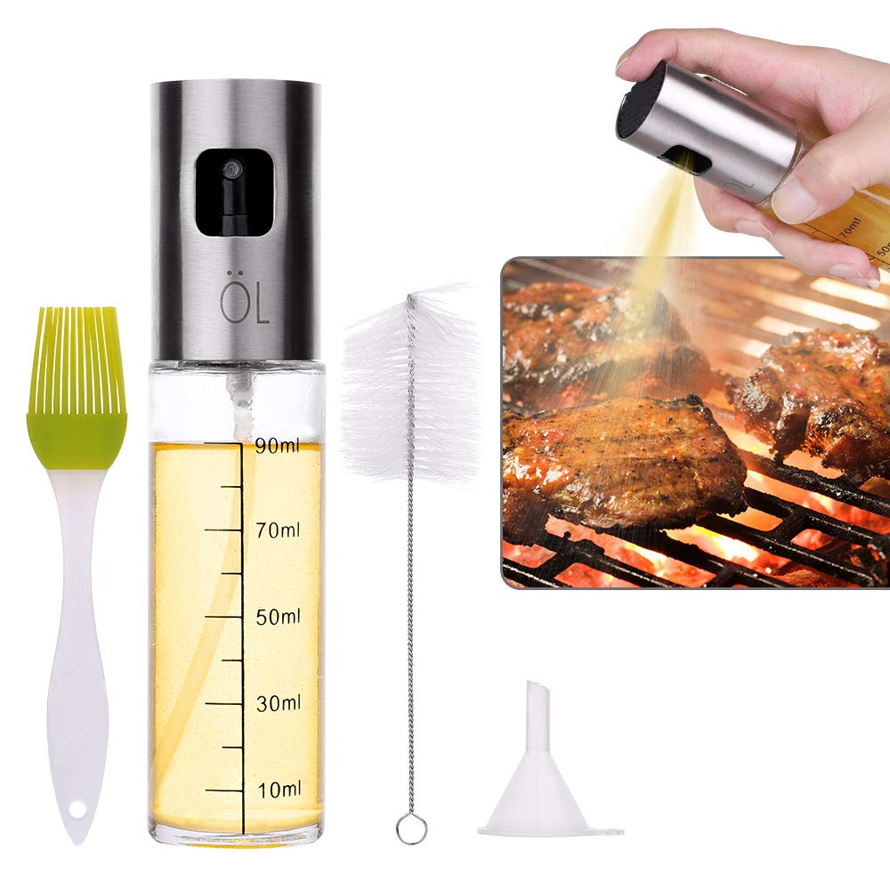 Baking Olive Oil Sprayer Frying Grilling Jiulyning Stainless Steel Refillable Oil Sprayer for Cooking Making Salad Cooking Roasting Oil Vinegar Dispenser Bottle with Food-Grade Glass for BBQ