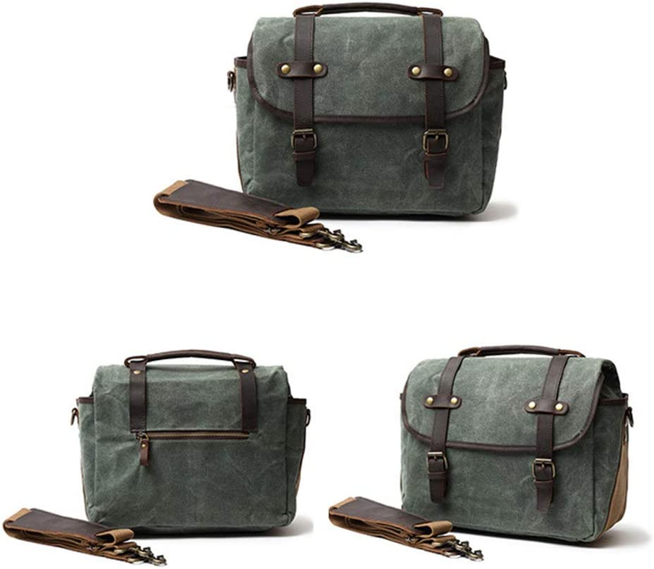 Color : Lake Green Hexiaoyi Oil Wax Canvas with Crazy Horse Leather Man Bag Waterproof Messenger Bag Retro Camera Bag