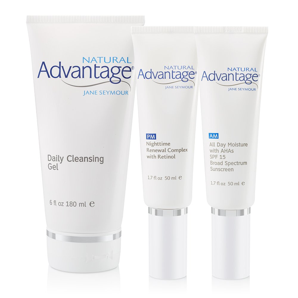 3 Piece Complete Kit – Daily Cleansing Gel – All Day Moisture – Nighttime Renewal Complex – Natural Advantage by Jane Seymour
