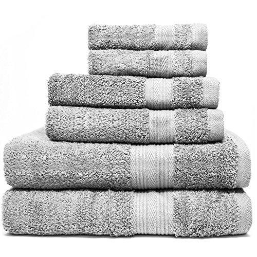 Zeppoli 6-Piece Towel Set - 100% Cotton Grey Towels - 2 Bath
