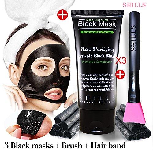 SHILLS Black Masks, Charcoal Peel Off Mask, blackhead removers 3 Black masks + Brush + Hair band