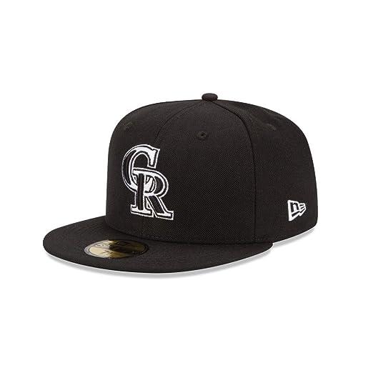Amazon.com   New Era Men s MLB Hat Colorado Rockies Black Fitted Cap ... 0de864d7431