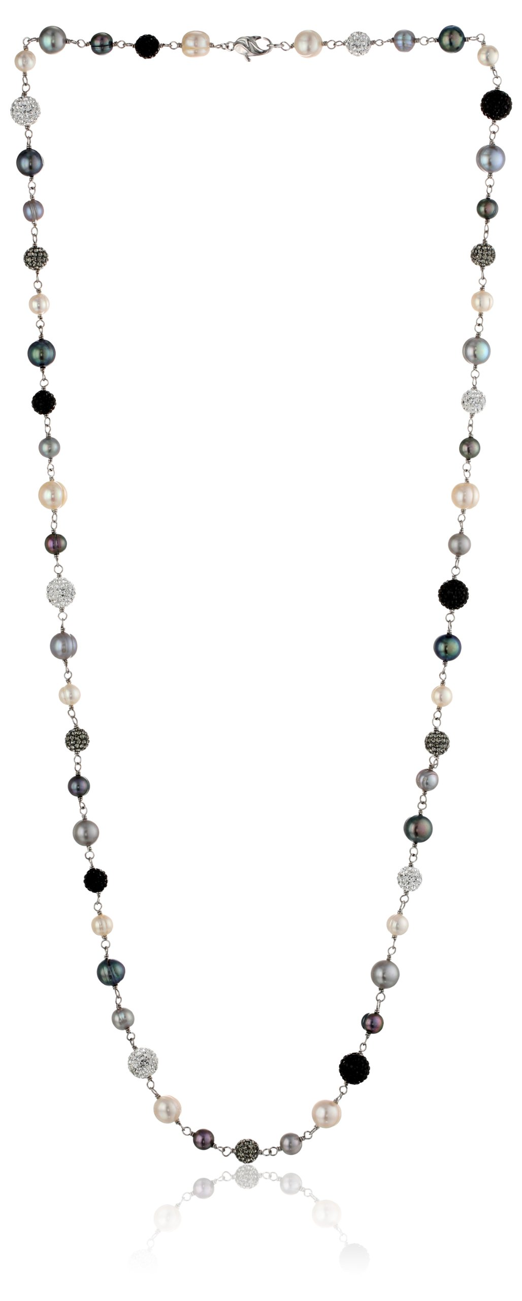 Honora ''Pop Star'' Freshwater Cultured Pearl, Sterling Silver and Pave Crystal Bead Necklace, 36''