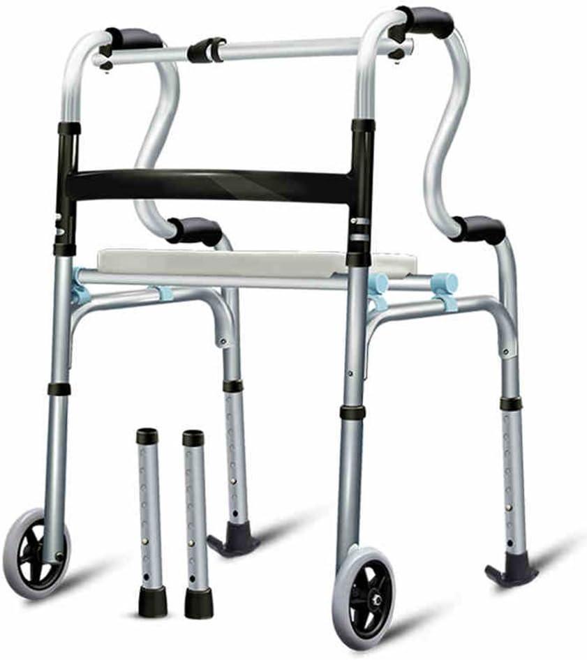 Weq Taburete de Ducha Taburete Marco para Caminar (con Ruedas) Altura Ajustable Médico Ligero (Color : C (Interchangeable Foot Pad))