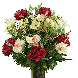Rubys Silk Flowers Fuchsia Peony and White Orchid mix, Artificial Bouquet, featuring the Stay-In-The-Vase Design(c) Flower Holder (MD2069) 38