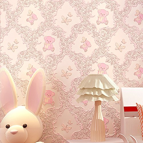 F&U Non-Woven Self Adhesive Contact Paper Film Decorative Peel and Stick Wallpaper Roll for Kids Girls Boys Room Bedroom (20.83''x117'') (Pink) ()