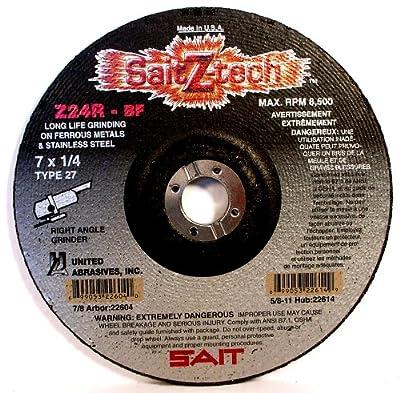 SAIT 22603 Type 27 6-Inch x 1/4-Inch x 7/8-Inch 10200 Max RPM Z-Tech - Z24R Zirconium Depressed Center Grinding Wheels, 25-Pack