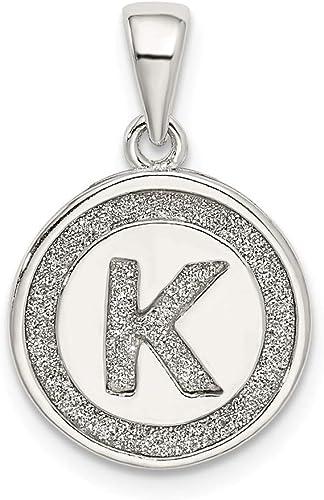 925 Sterling Silver Glitter Enamel Letter T Circle Shaped Pendant