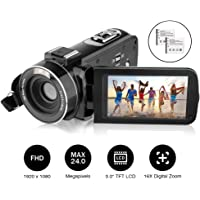 Video Camera Camcorder Kenuo 1080P 24MP Full HD Digital Camera Video Recording 3.0 Inch LCD Stabilization 270 Degree Rotation Screen 16X Digital Zoom Camera Recorder With 2 Rechargeable Batteries And Camera Bag