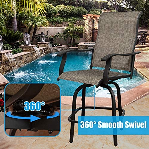 Outdoor Patio Swivel 2 Bar Chairs, 360 Degree Solid Rocking Chair, Bistro Set Height Swivel Patio Chairs, All-Weather Padded Sling Fabric Stools for Bars, Patio.