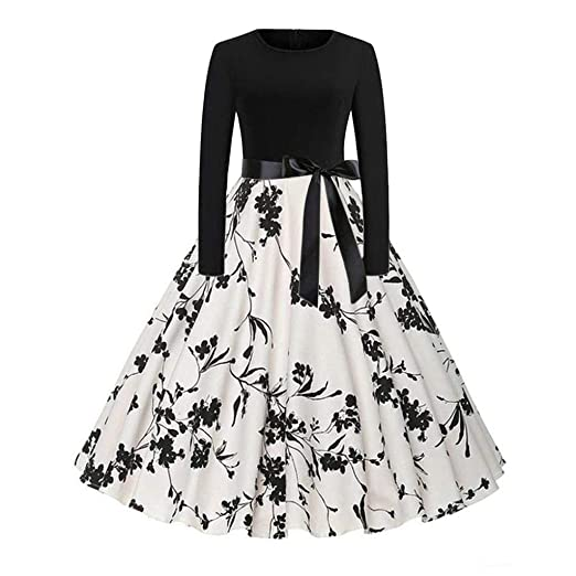 50ea1e068d2b Patchwork Dress Women Vintage Floral Print Slim Fit Long Sleeve Evening  Party Prom Cocktail Swing Dress