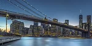 لوحة فنية جدارية مطبوعة على قماش مطبوع عليها New York Blue Hour Over Manhattan - مقاس 160X80 سم