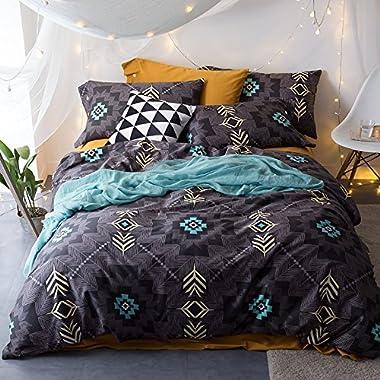 TheFit Paisley Textile Bedding for Adult U1602 Art Bohemian Boho Duvet Cover Set 100% Egyptian Cotton, Queen King Set, 4 Pieces (King)