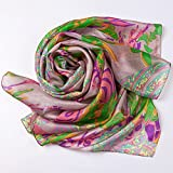 New-Year-SaleEcowonder-Women-Functional-Long-100-Silk-Scarf-Greyish-Green-Phoenix-Printing