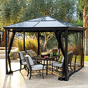 Belham Living Augusta 10 x 12 ft. Gazebo Polycarbonate Top Insect Netting
