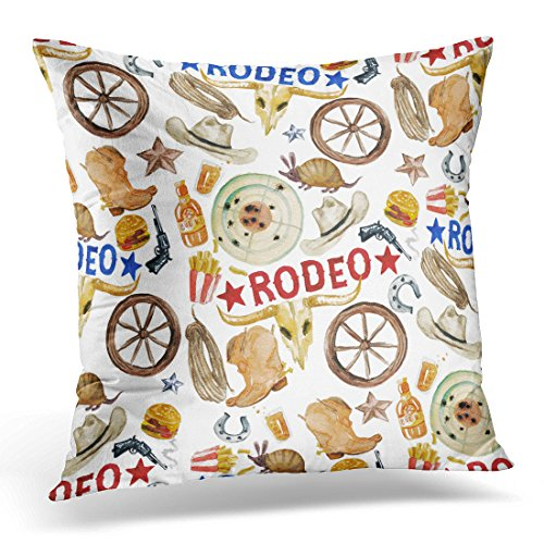 Breezat Throw Pillow Cover Western Rodeo Watercolor Arizona American Decorative Pillow Case Home Decor Square 18x18 Inches Pillowcase
