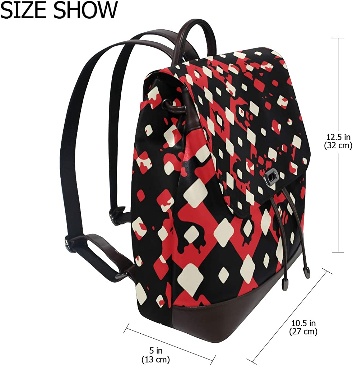 KEAKIA Women PU Leather Black And Red Pattern Backpack Purse Travel School Shoulder Bag Casual Daypack