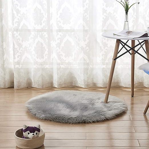 INMOZATA Faux Fur Sheepskin Rug Round Fluffy Rug Seat Pad Carpet Soft Area Rug for Living Room Bedroom Sofa Chair Floor 60X60 cm (Grey)