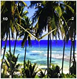 3dRose dpp_173296_2 Tropical Day Scene with Swaying Palm Trees and Glimpses of Blue Ocean Wall Clock, 13 by 13-Inch
