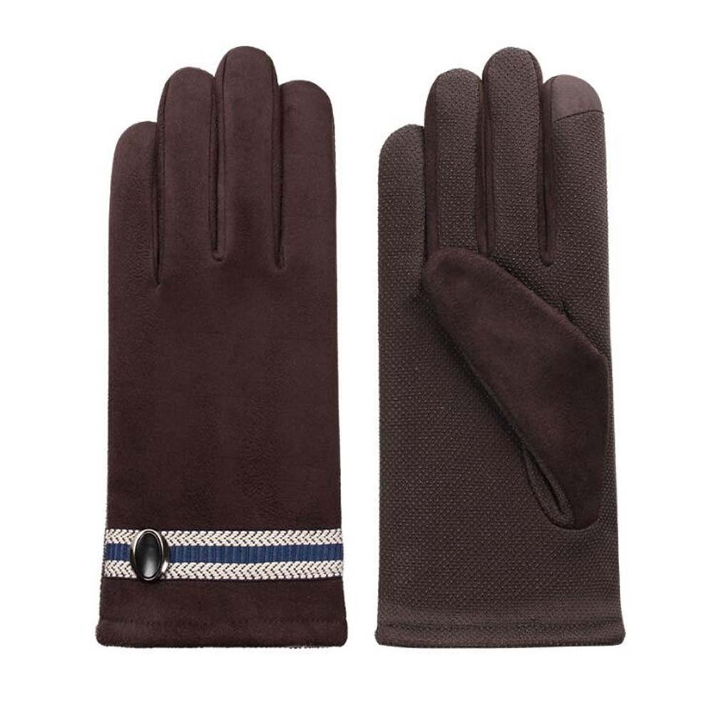 DRAGON SONIC Men's Winter Warm Touchscreen Gloves Business Gloves Coffee Color