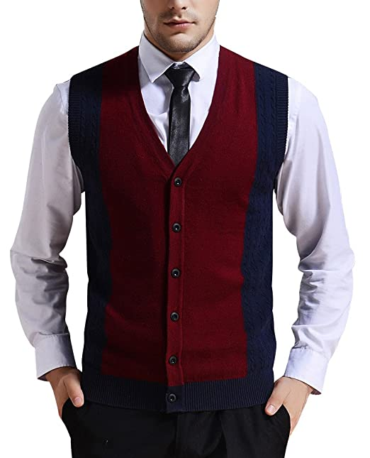 Men's Vintage Vests, Sweater Vests Zicac Mens Business V-neck Assorted Color Knitwear Vest Cardigan Sweater $26.99 AT vintagedancer.com